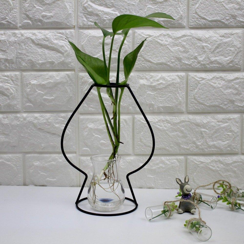 L;IAN Flower Rack Nordic Iron Home Living Room Flower Pot Rack Flower Arrangement Living Room Decoration Ornaments Glass Vases (Color : E)