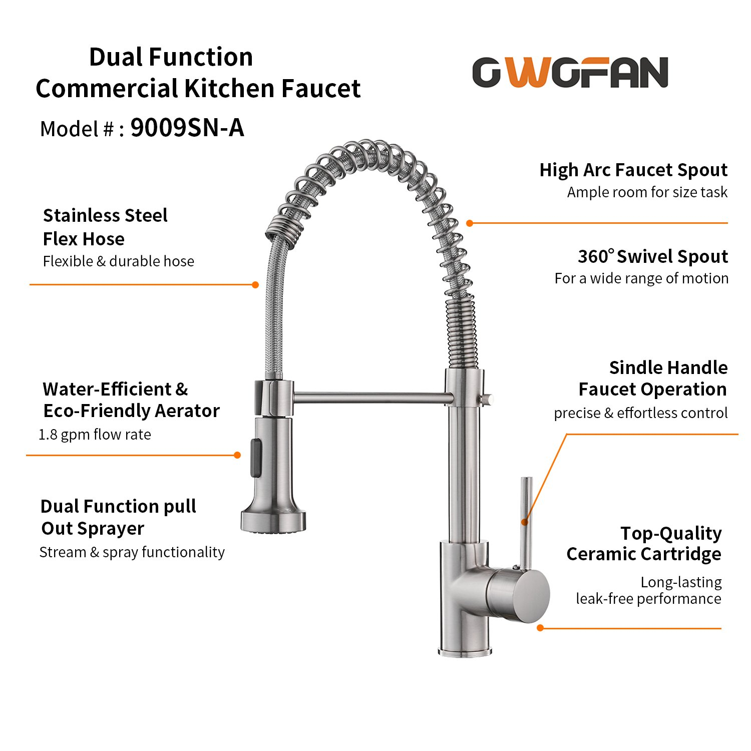 OWOFAN Lead-Free Commercial Solid Brass Single Handle Single Lever Pull Out Pull Down Sprayer Spring Kitchen Sink Faucet, Brushed Nickel Kitchen Faucets by OWOFAN (Image #5)