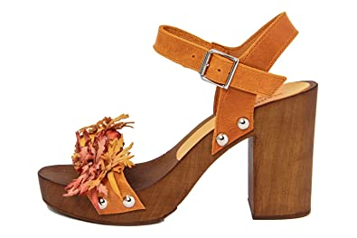 Cuir Sandale En 264 Femme Marradini 469 orange 40Amazon boston 45AjL3R