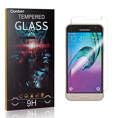 Conber Screen Protector for Samsung Galaxy J3 2016, (4 Pack) 9H Tempered Glass Film Screen Protector for Samsung Galaxy J3 2016 [Scratch-Resistant][Shatterproof]: Baby