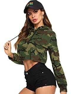 MAKEMECHIC Womens Graphic Print Crop Top T-Shirts Pullover Hoodies