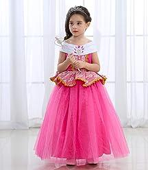 61c98baeb4d80 UR Fashion 子供ドレス キッズ プリンセス風 なりきりコスチューム 女の子 ワンピース コスプレ衣装 ピンクドレス ロング