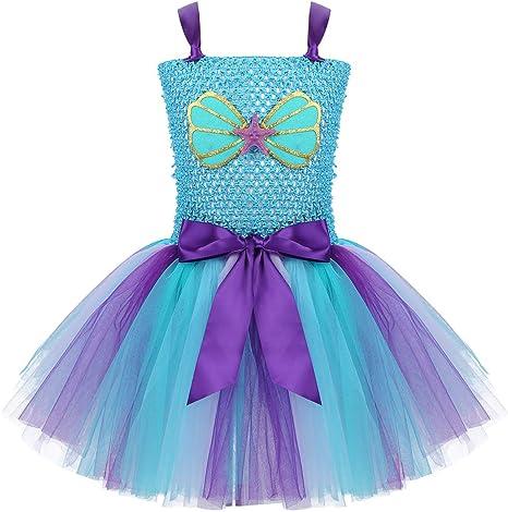 MSemis Vestido Sirena Princesa para Niñas Vestido Tutú Concha ...