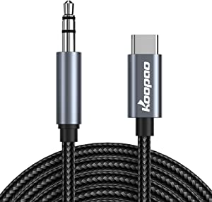 USB C to 3.5mm Audio Aux Jack Cable, KOOPAO Type C Adapter to 3.5mm Headphone Stereo Cord Car Compatible with Laptops, MacBook, Chromebook (1.64Ft)