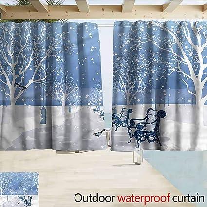 Amazoncom Beihai1sun Outdoor Blackout Curtains Urban Snow Falling