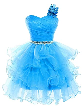 Amazon.com: Short Prom Dresses Beaded Puffy One Shoulder Homecoming ...