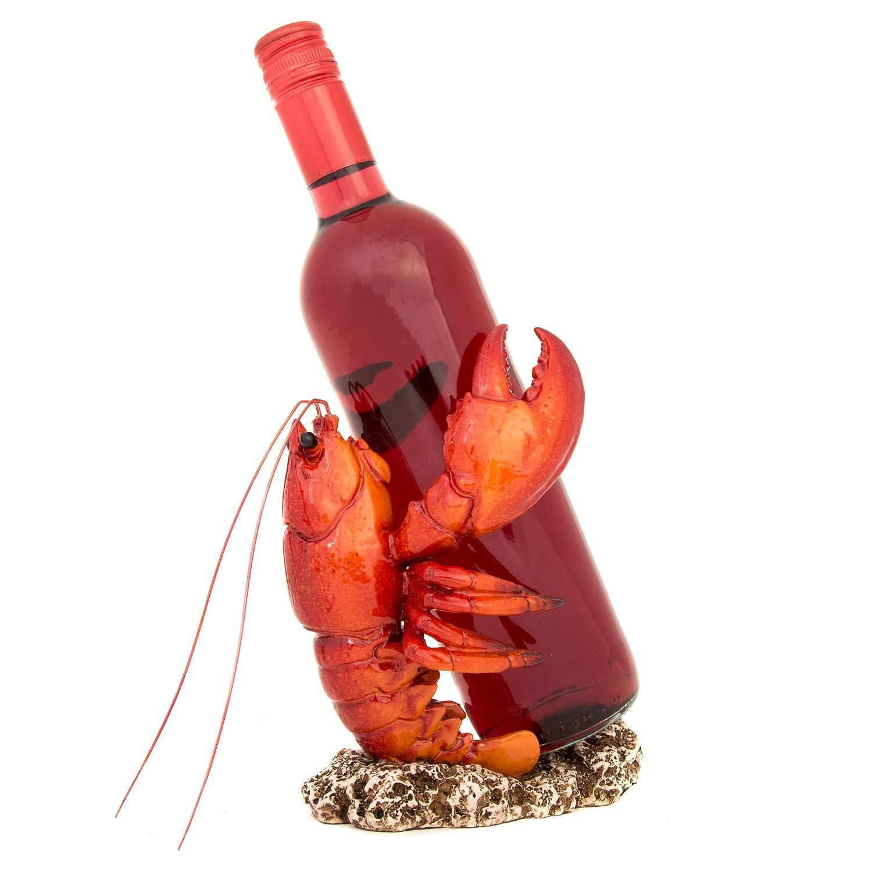 Nauti Orange Lobster Wine Bottle Holder 7.5 Inches Tall Polyresin WW-436 by Nauti