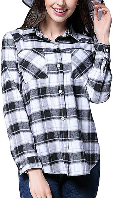 Blanco Y Negro Camisa Casual A Cuadros De Gran Tamaño De La Moda De Primavera De Las Mujeres Era La Ropa Fina: Amazon.es: Ropa y accesorios