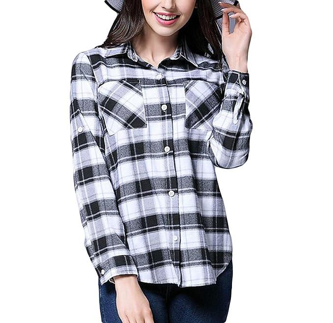 Blanco Y Negro Camisa Casual A Cuadros De Gran Tamaño De La Moda De Primavera De