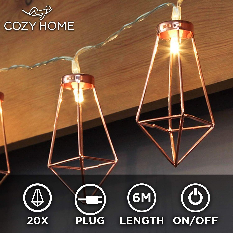 CozyHome Kupfer LED geometrische Lichterkette Batteriebetrieben rose gold pyramidenform 3x AA Batterien 4 Meter Gesamtl/änge 10 LEDs warm-wei/ß