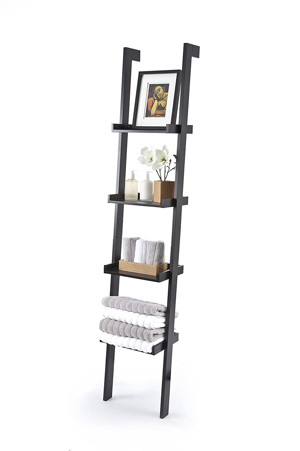 Black Ladder Leaning Bookshelf, wood/MDF with black paint finish, 4 Tiers - Sennen Range by Elegant Brands Elegant Brands Ltd