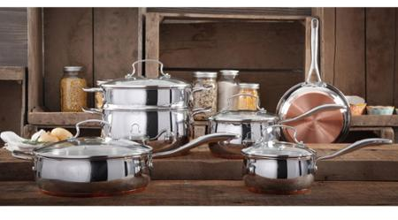 The Pioneer Woman Copper Charm 10-Piece Stainless Steel Copper Bottom Cookware Set - Walmart.com