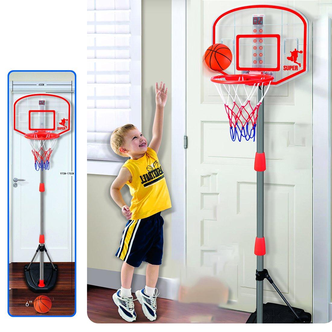 HYZH 200 CM Altezza Regolabile Canestro da basket Con Palla e Pompa Adatto per bambini e ragazzi