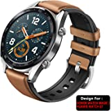 TASLAR Leather Watchband Strap Steel Buckle for Honor Watch Magic/Huawei Watch GT (Brown)