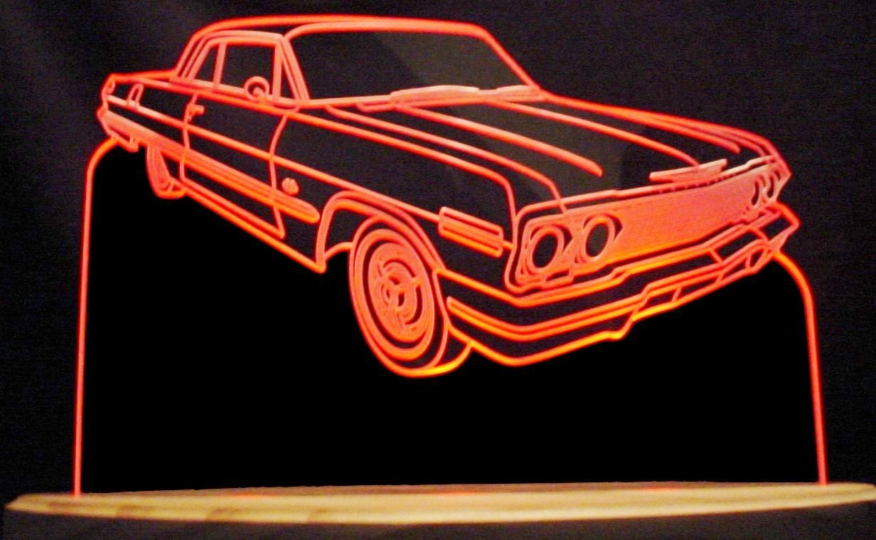 1963 Impala Acrylic Lighted Edge Lit 13'' Oval Wood Base 3 LED Sign Light Up Plaque 63 VVD1 Made in the USA