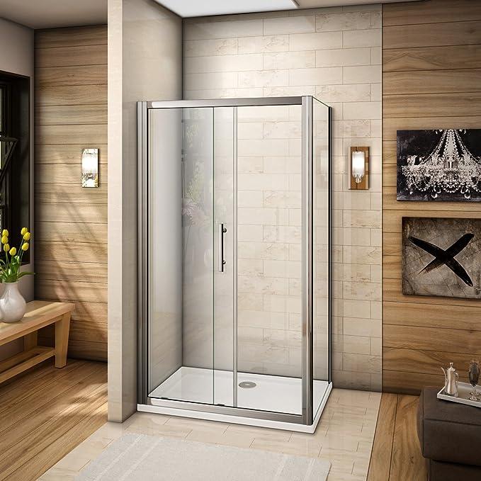 Mampara de ducha mamparas de baño corredera puerta cristal templado 110x185cm con plato de ducha 110x80cm: Amazon.es: Bricolaje y herramientas