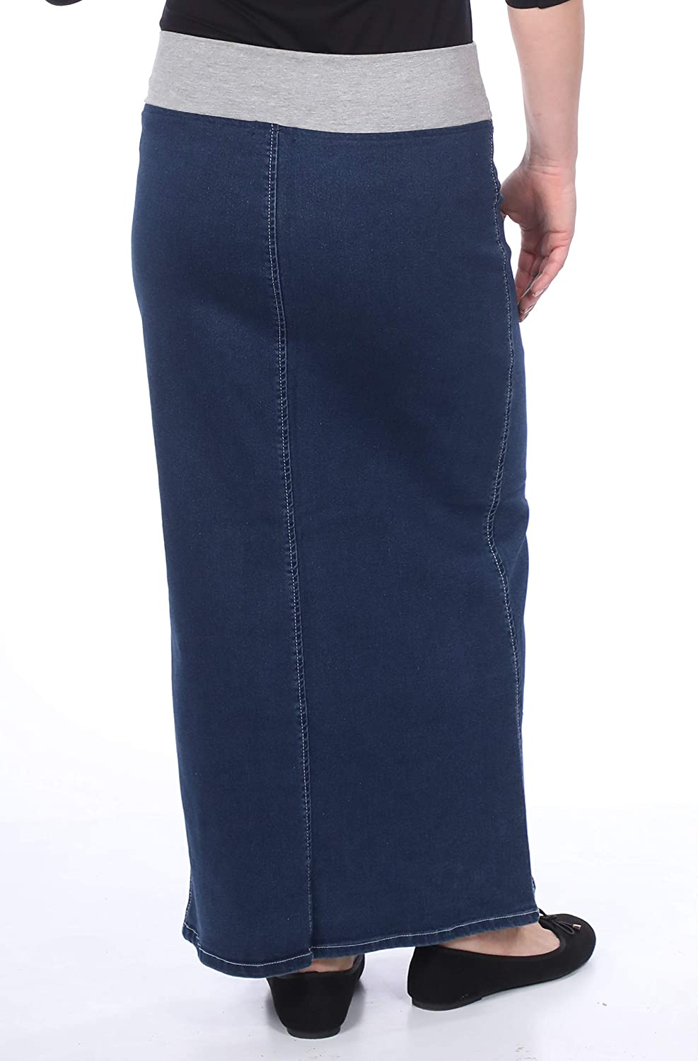 50d13139e2 Kosher Casual Women's Long Denim Skirt With Stretch Waistband: Amazon.ca:  Clothing & Accessories