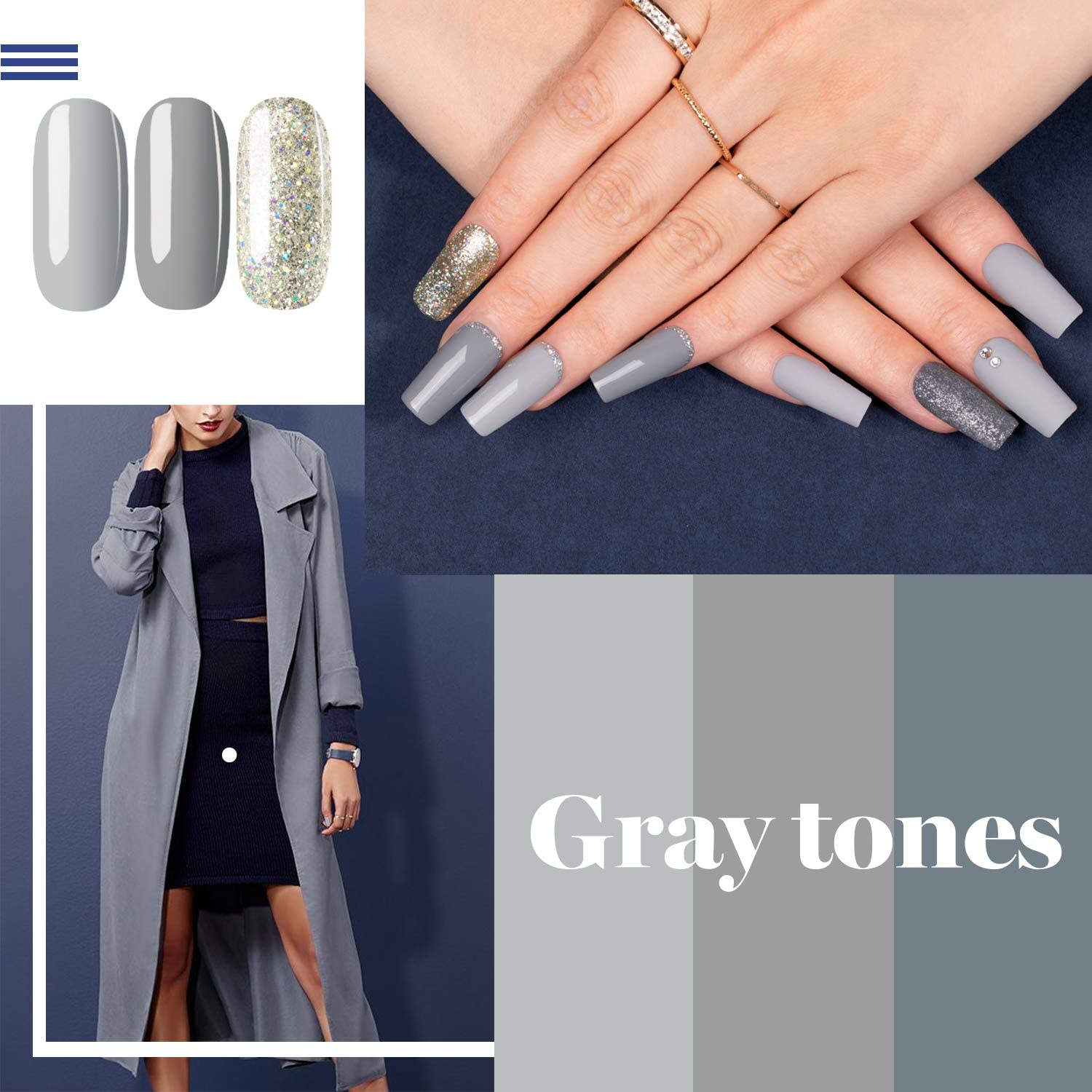Beetles BRIDESMAID BEAUTY Classic Gel Nail Polish Set - Nude Gray Pink 6 Colors Gel Polish Kit Popular Nail Art Design Soak Off LED Lamp Nail Polish Gel Manicure Kit Holiday Git Set : Beauty