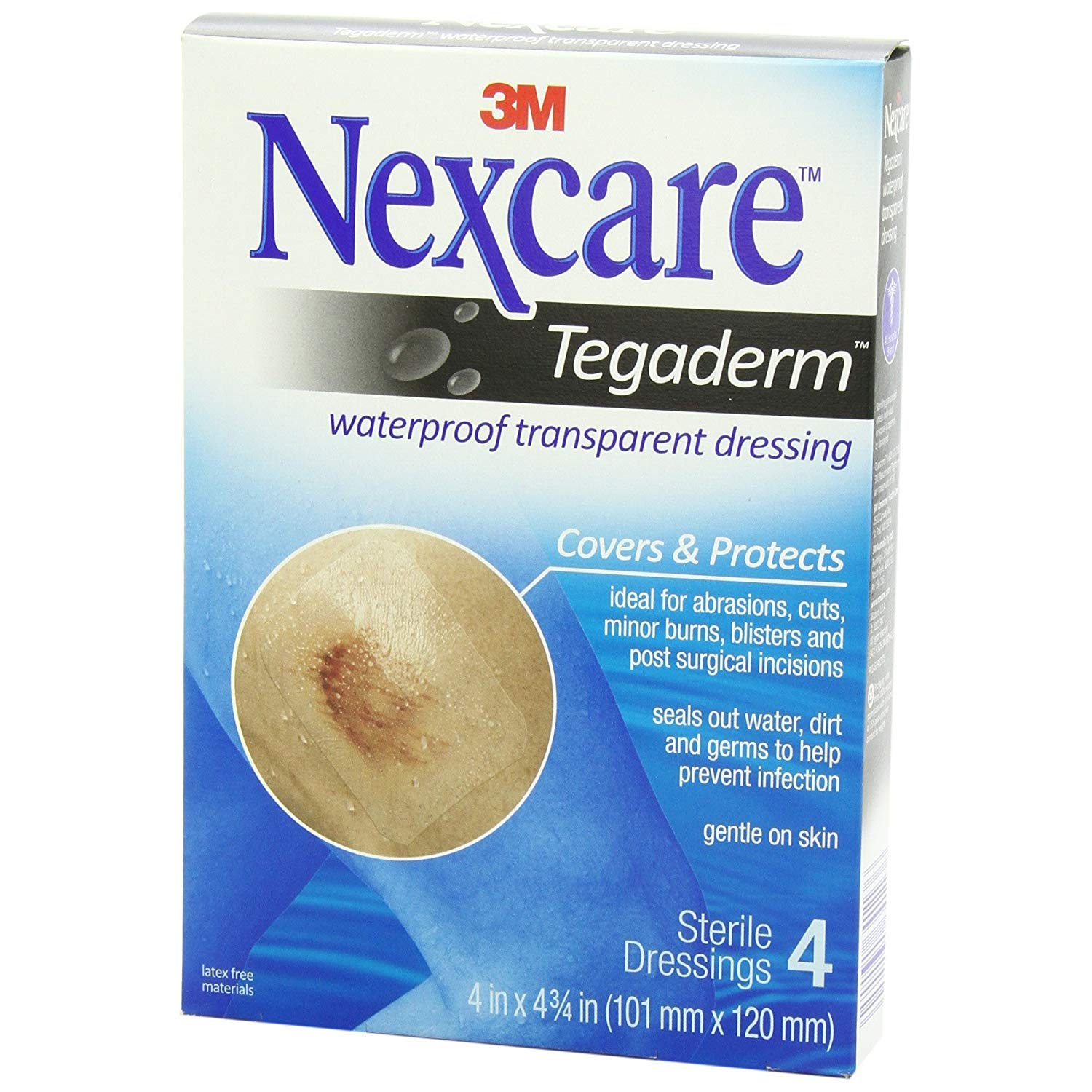 Nexcare Tegaderm Transparent Dressings 4 Inches X 4-3/4 Inches 4 Each (Pack of 8)