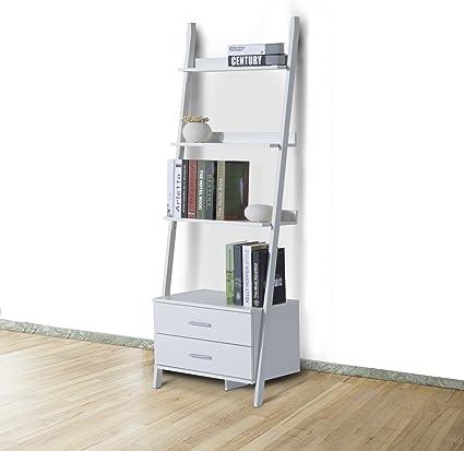 HOMCOM – Estantería Tipo Escalera estantería con 4 estantes para Libros con Dos Casetti de Madera 64 x 40 x 175 cm Blanco