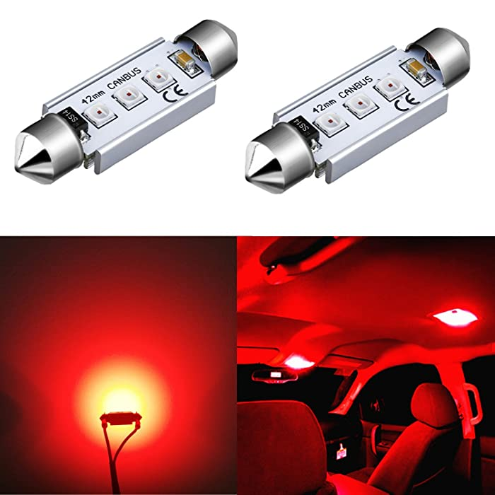 Alla Lighting Super Bright 42MM 578 LED Bulb Red High Power 3030-SMD CANBUS LED 578 Bulb Festoon 211-2 212-2 569 578 LED License Plate Tag Interior Map Dome Light Bulbs Replacement (Set of 2)