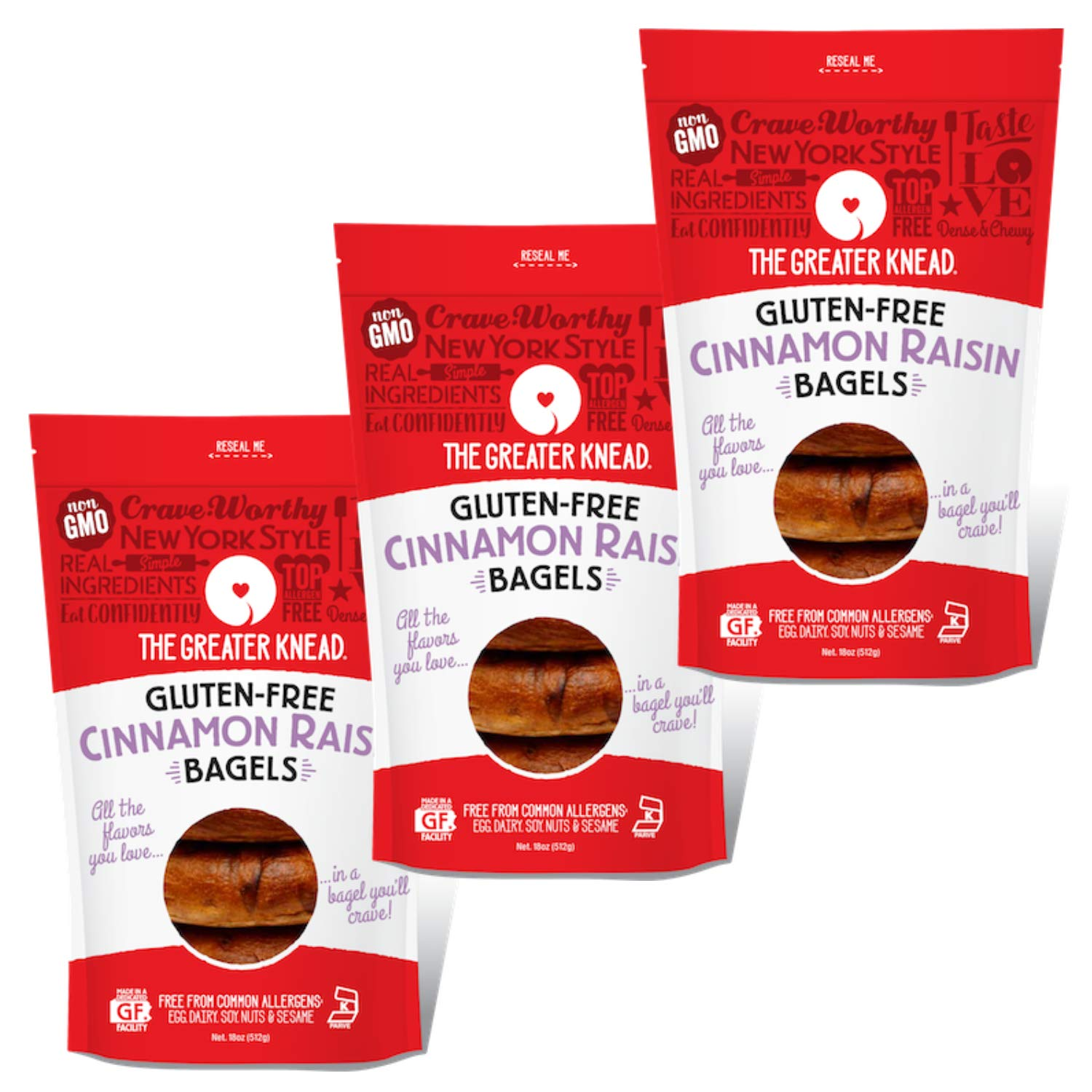 Greater Knead Gluten Free Bagel - Cinnamon Raisin - Vegan, non-GMO, Free of Wheat, Nuts, Soy, Peanuts, Tree Nuts (12 bagels) by The Greater Knead (Image #1)