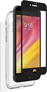 ZAGG InvisibleShield Glass+ 360 - Front + Back Screen Protection with Side Bumpers Made for Apple iPhone 8 - Black