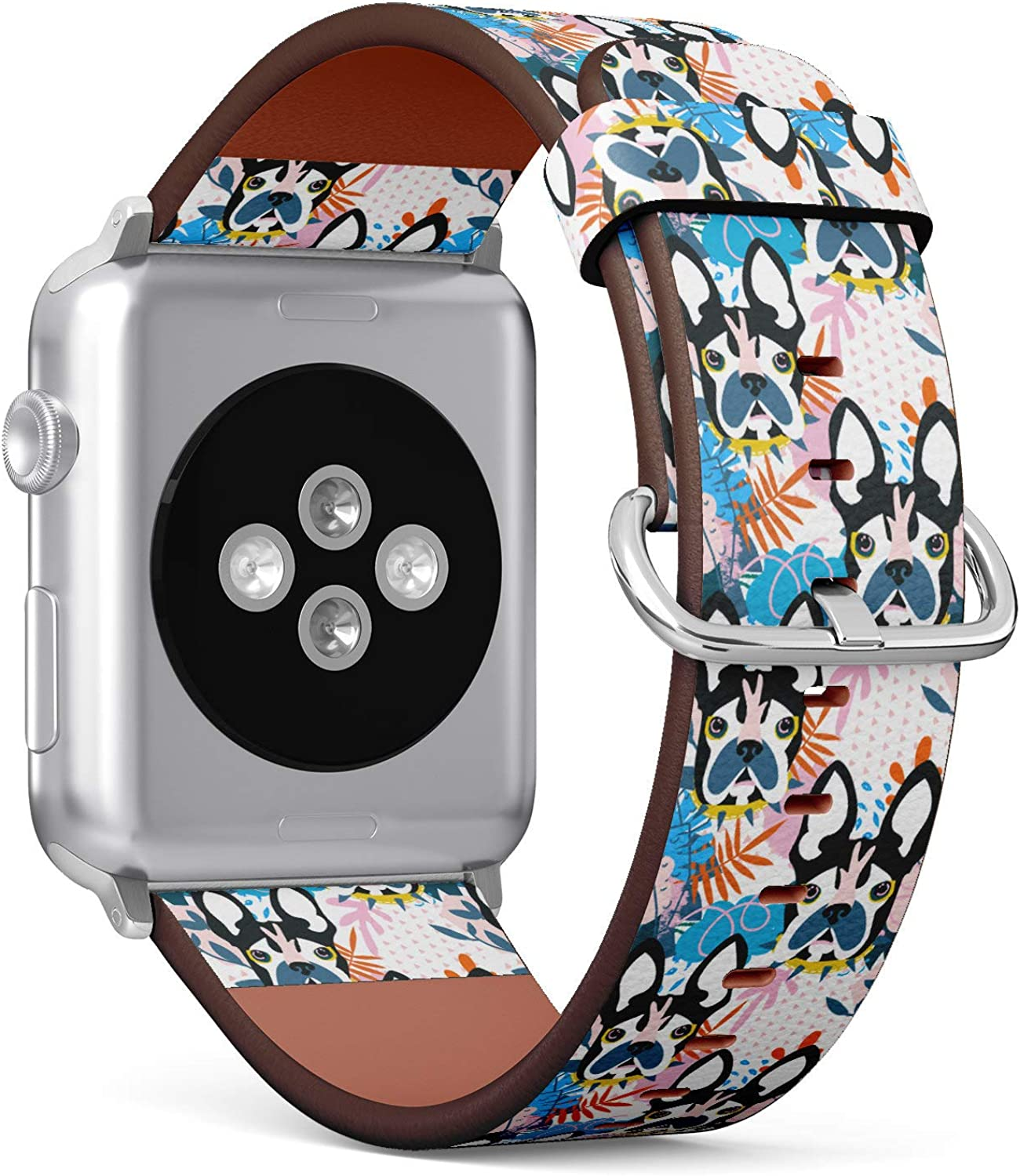 (Boston Terrier French Bulldog) Patterned Leather Wristband Strap for Apple Watch Series 4/3/2/1 gen,Replacement for iWatch 38mm / 40mm Bands