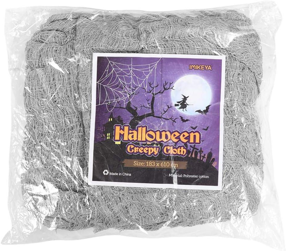 Halloween Creepy Cloth Spooky Halloween Party Decorations Halloween Entryways Windows Cover Spooky Fabric (Grey)