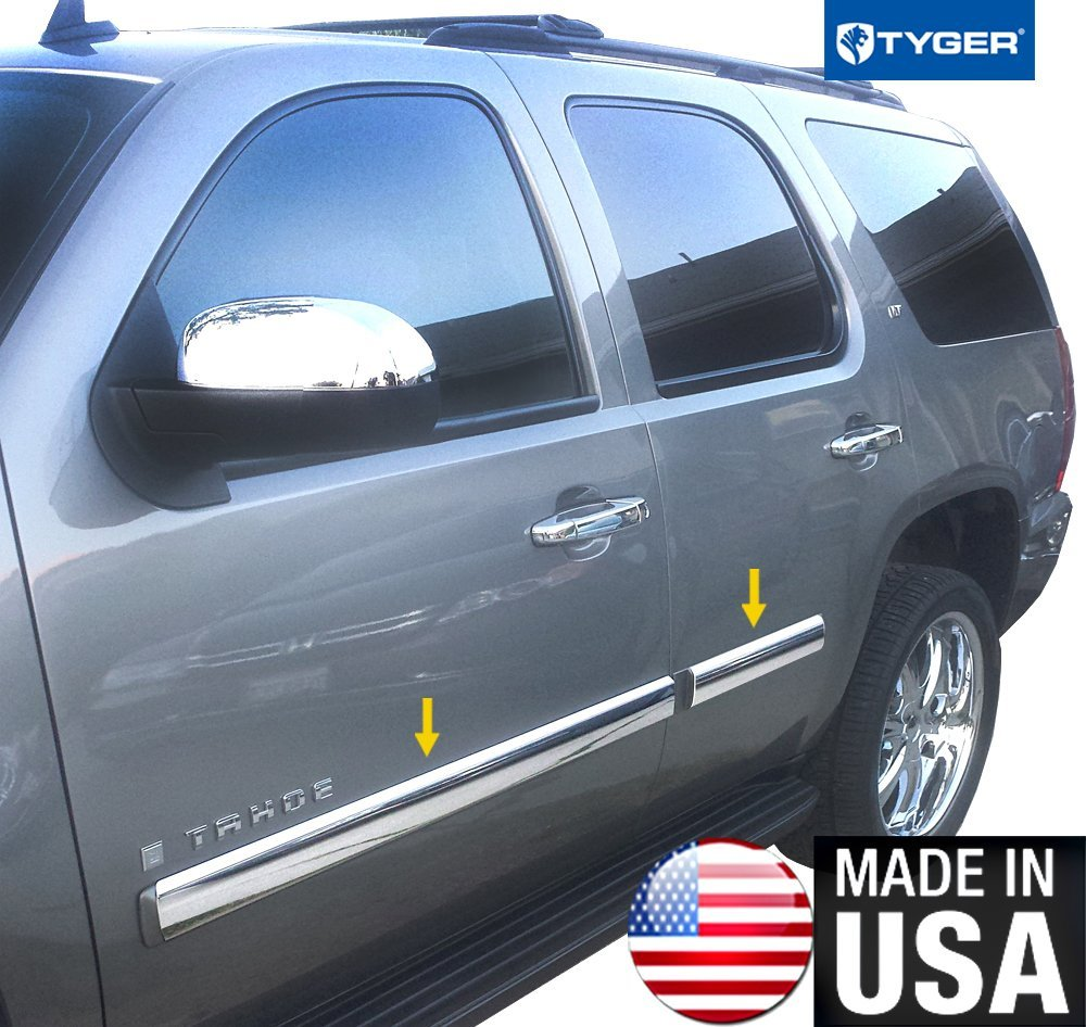Made In USA! Works With 2007-2008 Chevy Tahoe Rocker Panel Chrome Stainless Steel Body Side Moulding Molding Trim Cover 3.5' Full Width 4PC MaxMate
