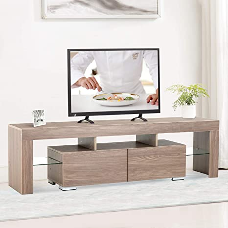 Amazon.com: mecor - Mueble de TV moderno con luces LED de 63 ...