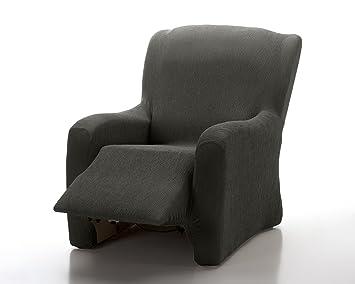 Textilhome Housse Fauteuil Relax Complète Marian Elastique Taille 1 Places 70 A 100cm Couleur Noir