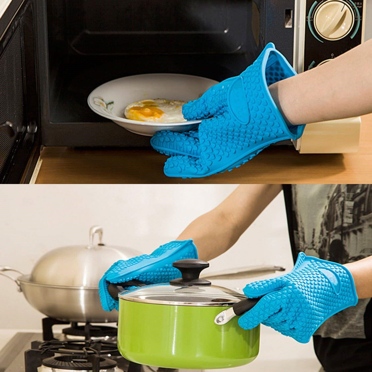 Silicone BBQ Gloves - Oceom Best Heat Resistant Non-slip Oven Mitts For Cooking, Baking, BBQ, Oven, Microwave, Frying, Freezer, Kitchen 1PC (Blue) by Oceom (Image #2)