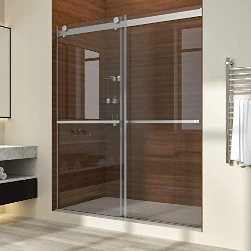 ELEGANT Double Sliding Frameless Shower Door, 64 Width Adjustment x 76 High, Upgrade 3 8 Clear Glass Shower Door, Brushed Stainless Steel