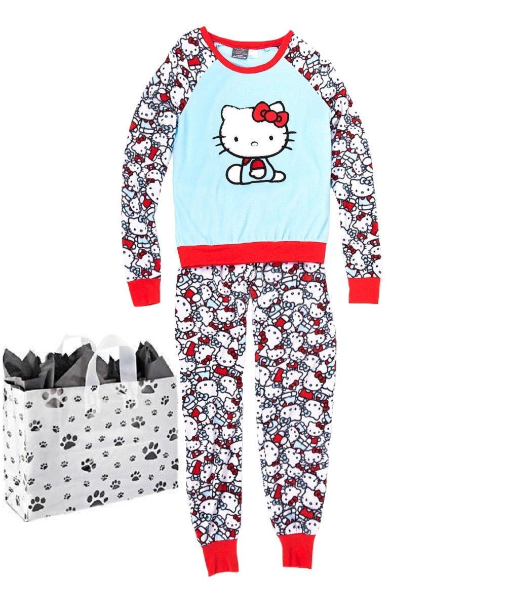 Hello Kitty Junior Womens' Pajama Set & Bag - 2 Piece Gift Set (Medium)