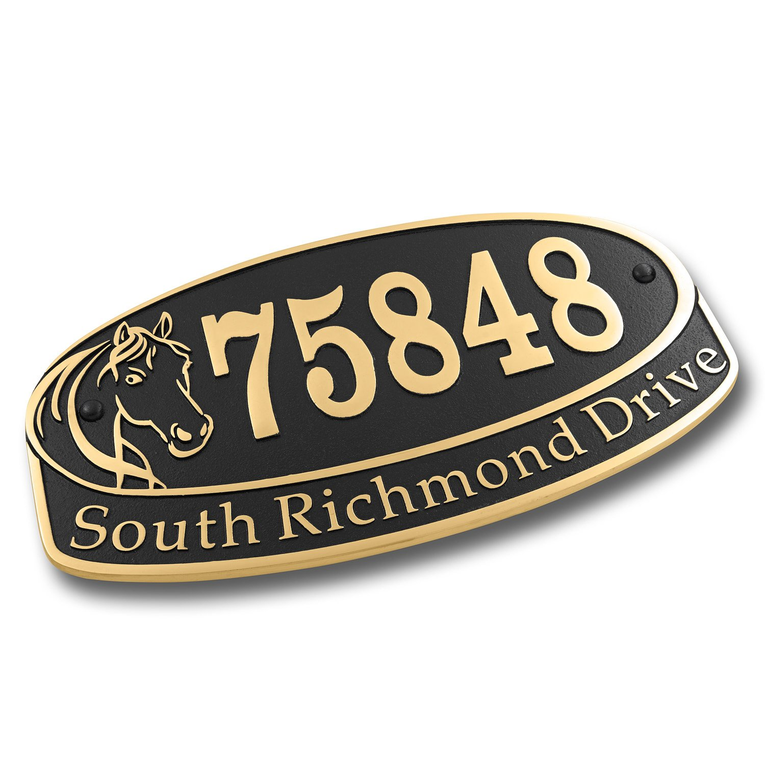 Personalized Horse Lover House Number Plate Sign| Custom Mailbox Address Name Plaque In Solid Cast Metal | No Cheap Looking Plastic Or Acrylic For Your Home Just Unique Quality English Craftsmanship by The Metal Foundry Ltd