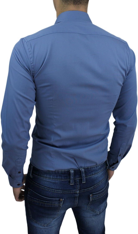 AK collezioni Camicia Uomo Slim Fit Super Aderente Nuova Casual Elegante in Cotone