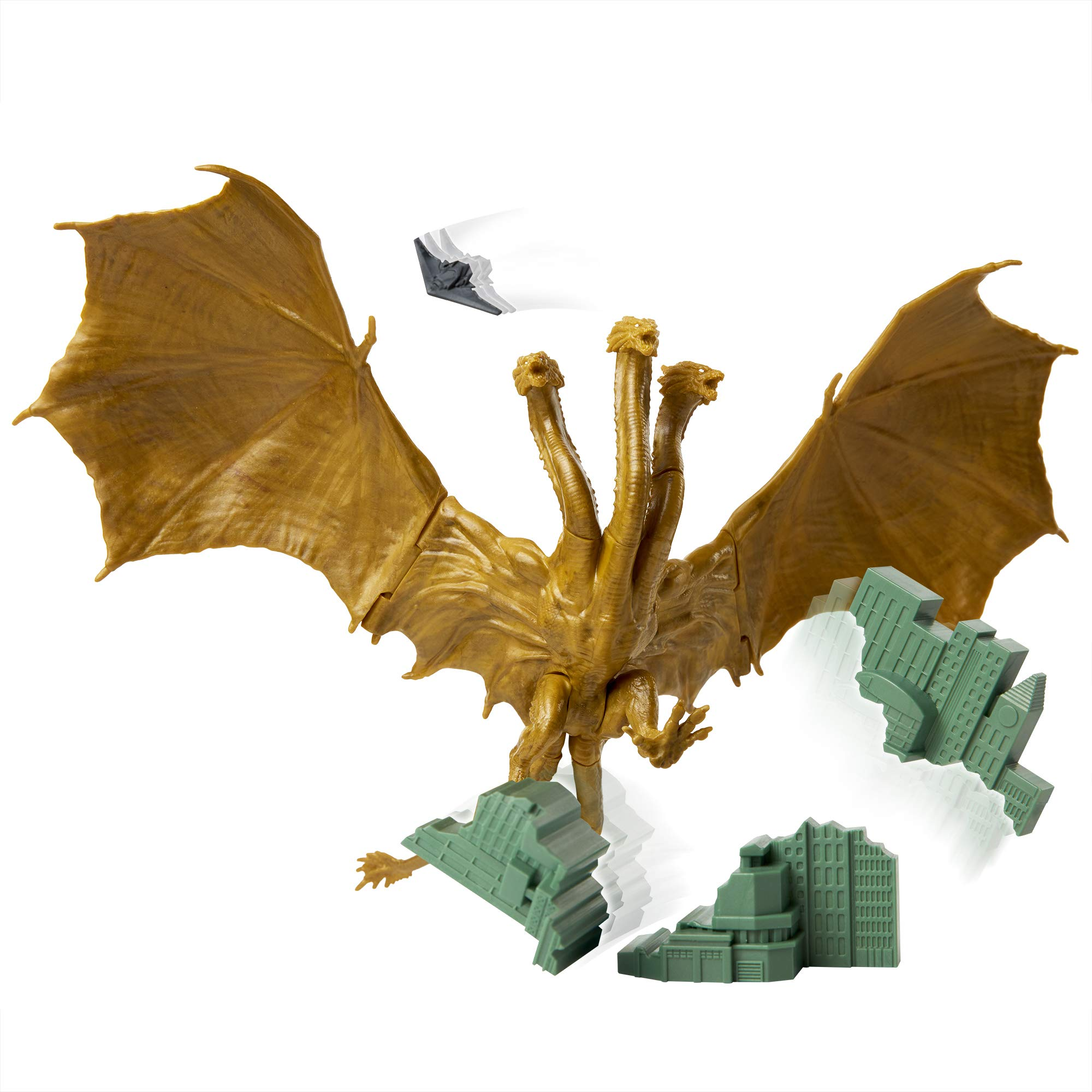 "Godzilla King of The Monsters: 6"" King Ghidorah Articulated Action Figure with Argo Jet & Destructible City"