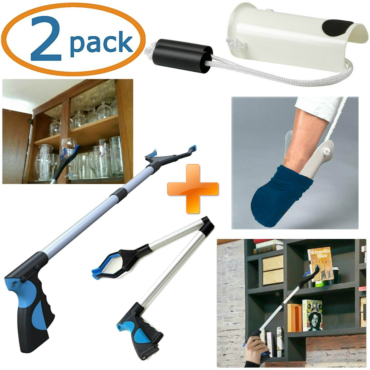 Grabber Reacher Tool & Sock Aid Kit Assist 2 Pack Mobility Tool Kit Adjustable Lightweight & Portable Reaching Assist Tools by Kitchen Krush