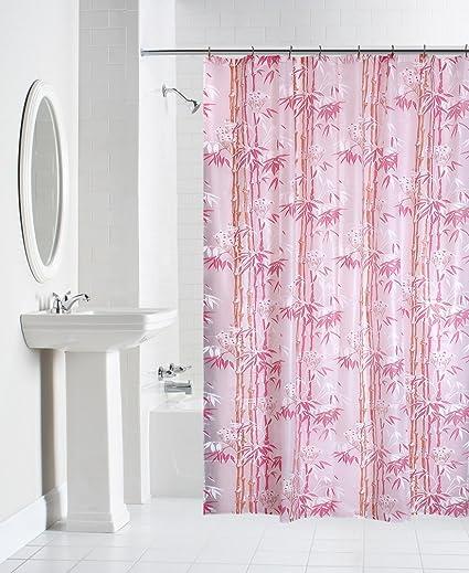 Yellow Weaves PVC Printed Shower Curtain 54X80 InchesPinkWI928