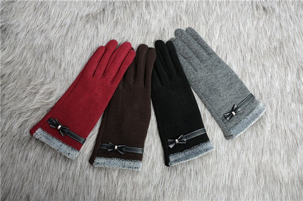 Women's Winter Gloves Touchscreen Texting Glove Fleece Lining Show Thin Black,,One Size by Kitten Fashion (Image #3)