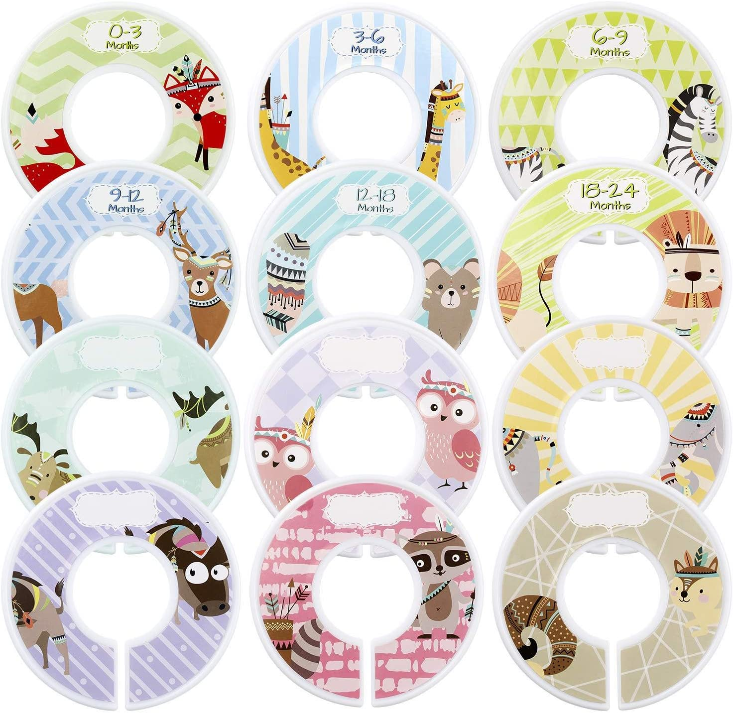 Nursery Closet Organizer for Boy or Girl Size Age Dividers from Newborn Infant to 24 Months with Blank HIFOT Closet Dividers for Baby Clothes 12 Set
