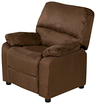 Superb Relaxzen Usb Charging Contemporary Kids Recliner With Storage Arms Brown Pabps2019 Chair Design Images Pabps2019Com