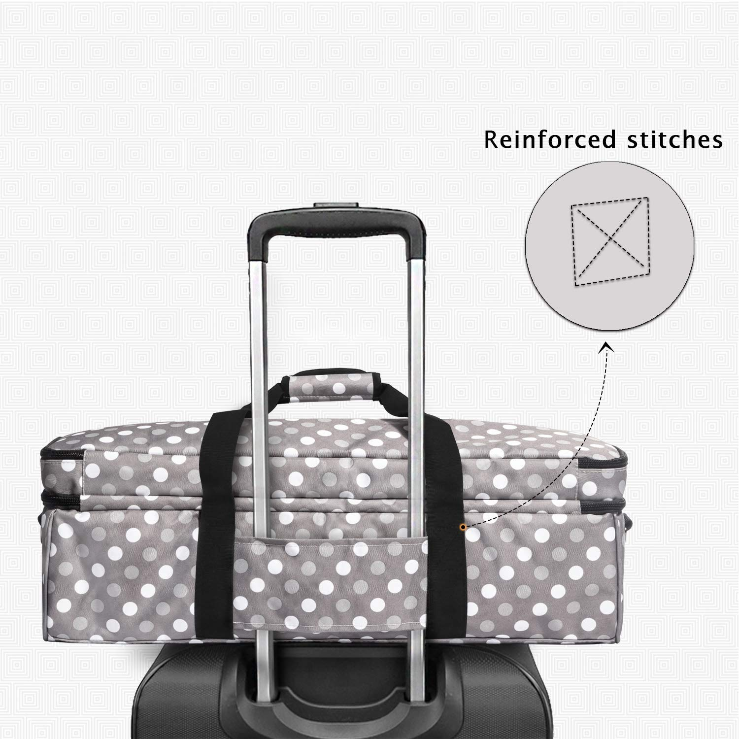 Gray Dots Luxja Double-Layer Bag Compatible with Cricut Explore Air Bag Only, Patent Pending Carrying Bag Compatible with Cricut Die-Cut Machine and Supplies Air2 and Maker