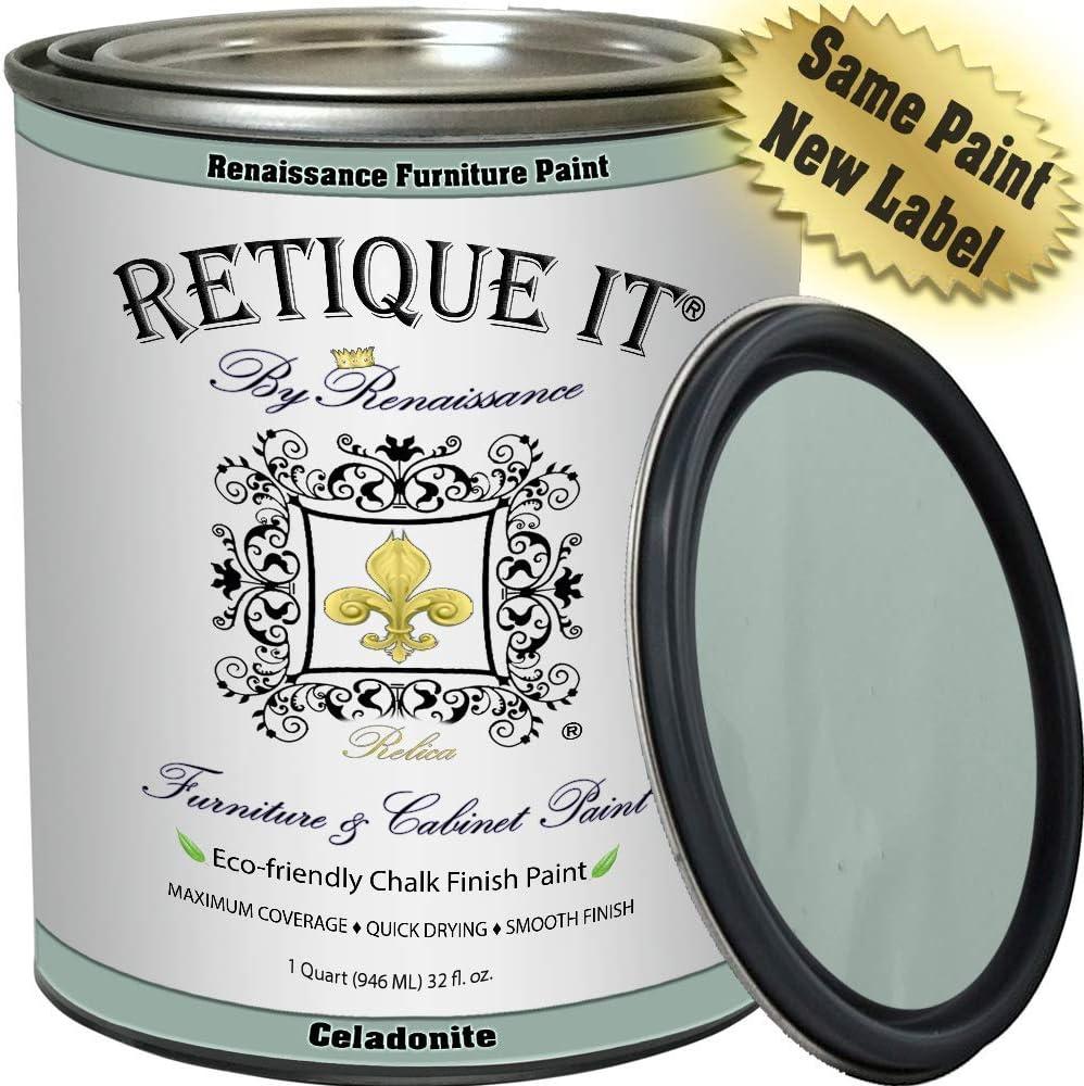 Retique It Chalk Finish Renaissance Furniture Paint, 32 oz (Quart), 33 Celadonite
