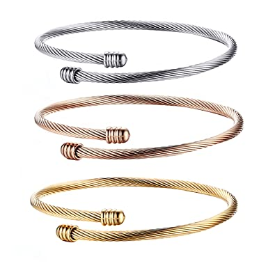 dd9d4af0aca Image Unavailable. Image not available for. Color: Oidea 3pcs Stainless  Steel Stackable Cable Wire Twisted Cuff Bangle Bracelet for Women ...