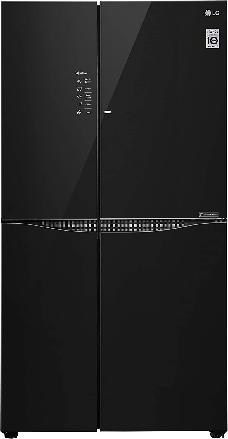 LG 675 L Inverter Frost-Free Door-In-Door Side-by-Side Refrigerator (GC-M247UGBM, Black Glass, LG ThinQ)