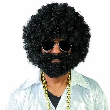 NET TOYS Peluca Afro con Barba Pelo Afro setentero Negro Postizo Disco Cabellera rizada Carnaval Bisoñé