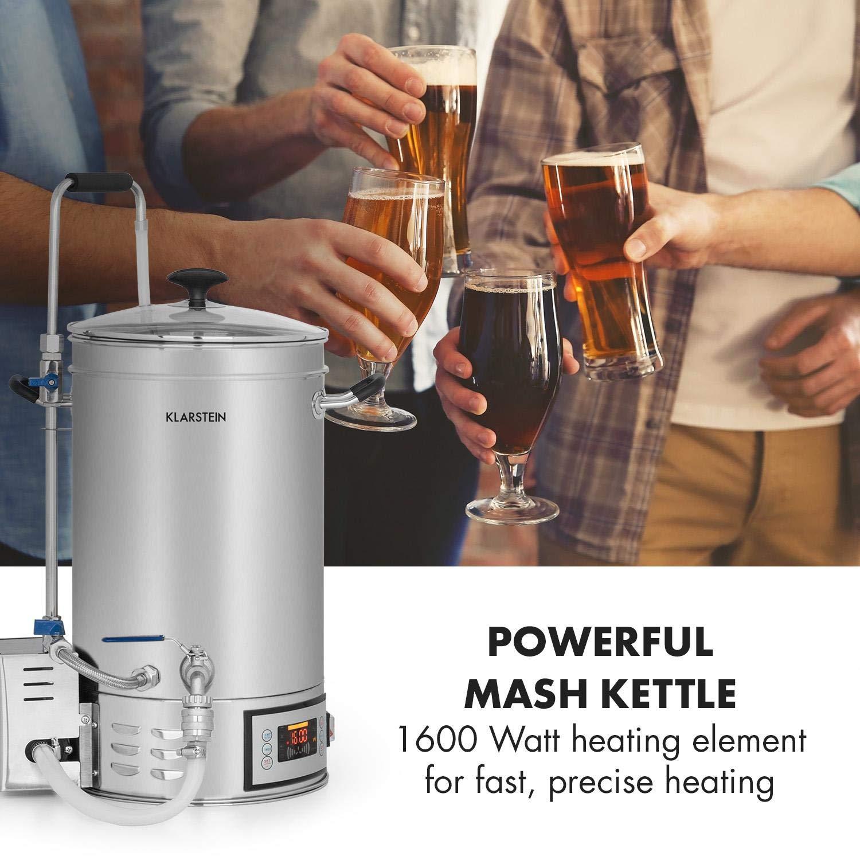 Klarstein Brauheld 15 Caldera de maceración • Juego de fermentación • Cerveza casera • 15 L • 30-140 °C • 500-1600 W • Bomba de circulación • 4 pasos ...