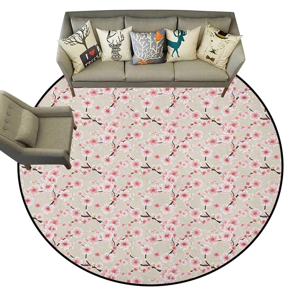 Style09 Diameter 66(inch& xFF09; Asian,Personalized Floor mats Indonesian Javanese Style Batik Pattern Wavy and Floral Design Old Fashioned Tile D54 Floor Mat Entrance Doormat